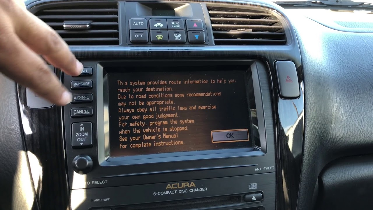 acura tl navigation serial number