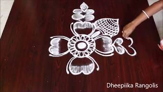 Beautifull freehand flower muggulu designs l best kolam design l latest easy rangoli designs