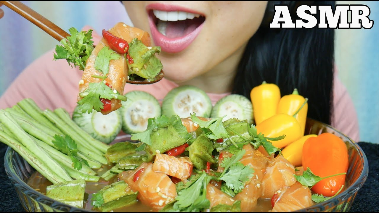 Asmr Spicy Salmon Sashimi Salad Fresh Veggies Eating Sounds No Talking Sas Asmr Youtube Other good asmr mukbang channels include cloveress, hyuneeeats, hungry cakes, suellasmr, pokimane, and sassesnacks. asmr spicy salmon sashimi salad fresh veggies eating sounds no talking sas asmr