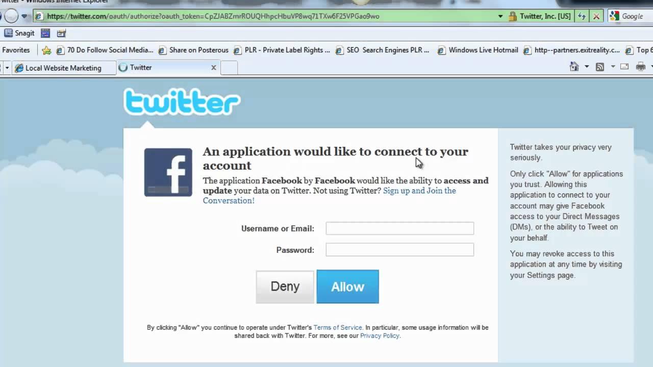 Facebook not updating twitter