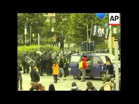 Scuffles as tens of thousands protest the upcoming G-8 summit