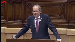 Quim Torra responde a Inés Arrimadas en el Parlament de Cataluña