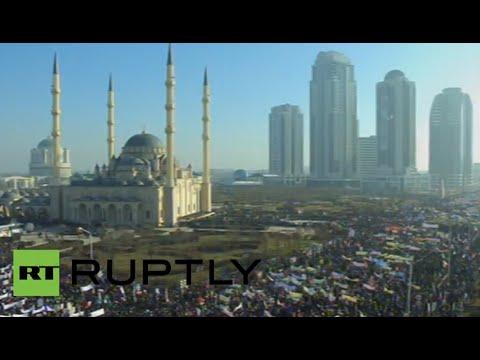 Charlie Hebdo cartoon protest in Grozny, Chechnya