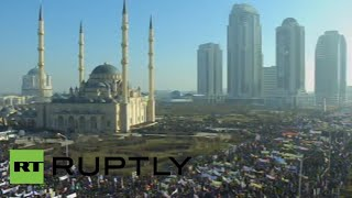 Charlie Hebdo cartoon protest in Grozny, Chechnya