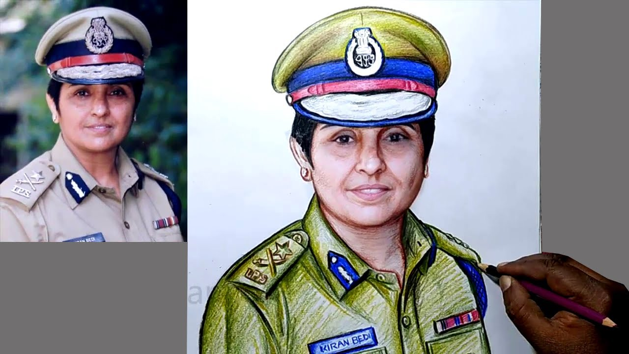 How to Draw Kiran Bedi IPS Uniform Color Drawing /Kiran Bedi Photo Art/Indian IPS Officer Kiran Bedi