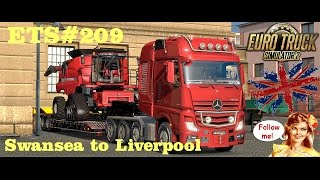 ets 209 transporting a 18 tons case ih 9230 from swansea to liverpool 312 km