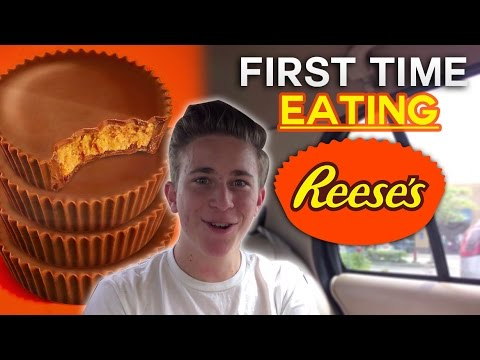 EATING A REESE'S PEANUT BUTTER CUP FOR THE FIRST TIME!!!!