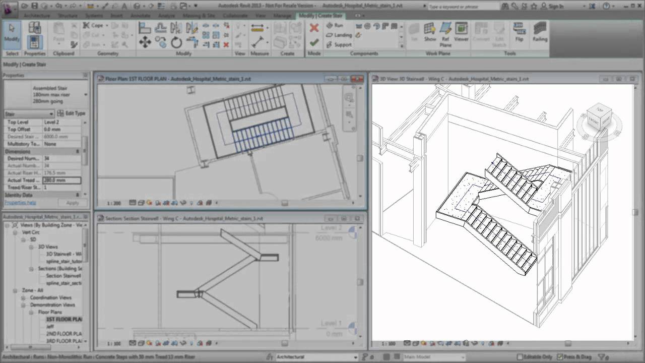 Autodesk Revit: Creating a Switchback Stair - YouTube