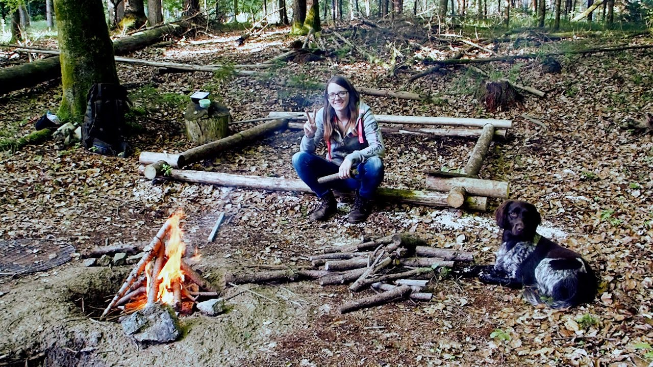 Building A Tiny Log Cabin Part 2 (Overnighter and UFO Sighting?)