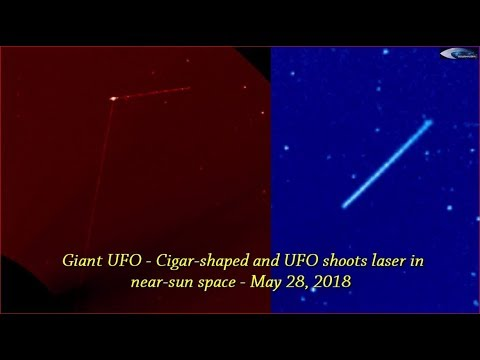 nouvel ordre mondial   Giant UFO - Cigar-shaped and UFO shoots laser in near-sun space - May 28, 2018