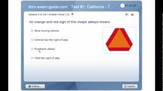 DMV California Driver Permit Test - Traffic Signs & Driving Rules - Practice Exam #1 (Part 1)