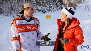 Hailey Bright- Red Bull Crashed Ice on Fox Sports- Ice Skate Skis Interview with Tommy Mertz