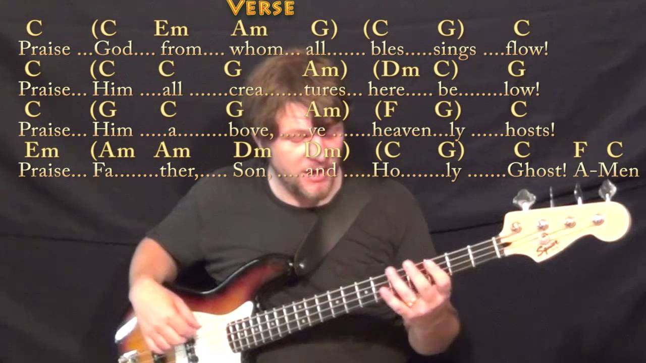 From Whom All Blessings Flow Doxology Bass Guitar Cover Lesson In