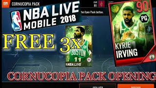 NEW 90 OVR KYRIE IRVING 3x FREE CORNUCOPIA PACK OPENING NBA Live Mobile 18!!