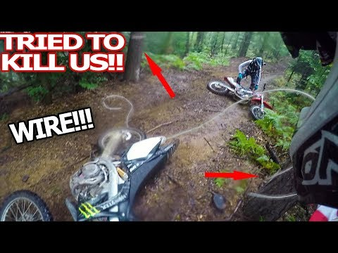 Angry Man Try To Kill Dirt Bikers - Steel Cable Trap 2018