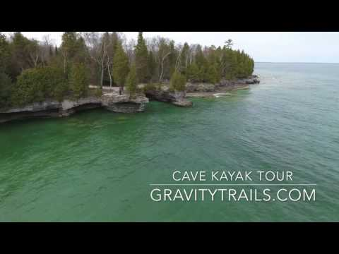 Cave Tour at Cave Point, Door County Wi. Aerial Video