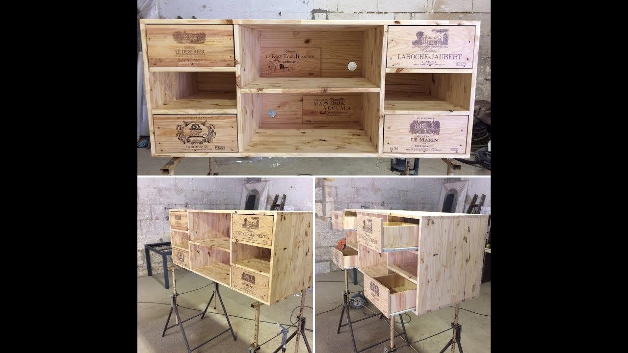 ideco diy mobilier tv tele en bois design avec caisses a vin grand cru