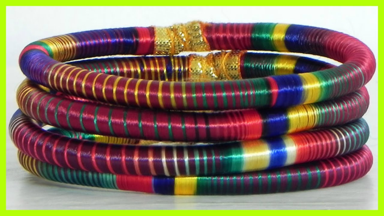 Very Colorful Thread Bangles For Girls Wearing Traditional Dresses ...