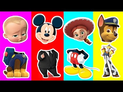 Thumbnail: Boss Baby Wrong Head | Chase, Jessie, Mikey Mouse Toys playing Right Head | Kids Match up Game
