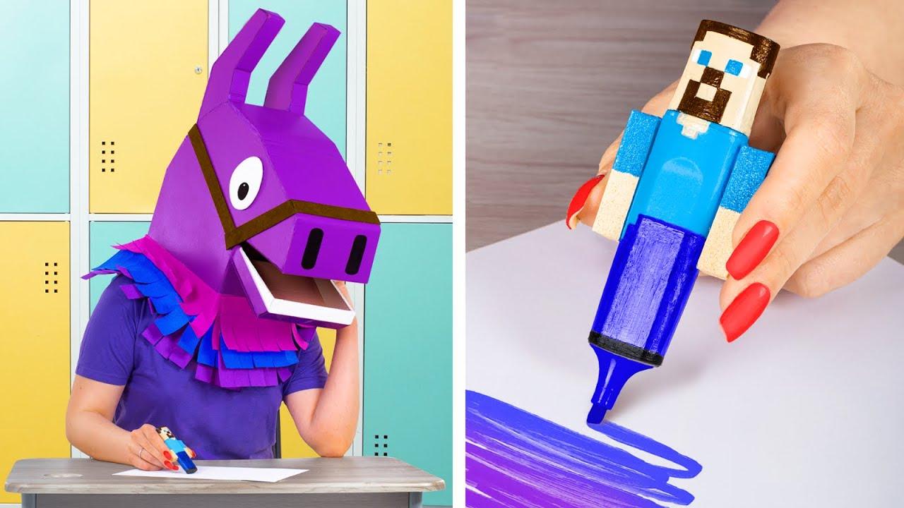 9 Perlengkapan Sekolah Fortnite Vs Kreasi Perlengkapan Sekolah Minecraft