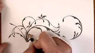 Drawing Time Lapse: a simple Floral Design with Pencil