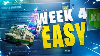 ALL Week 4 Challenges FAST & EASY! Supply Llama, Ice Cream Trucks, Vehicle Tower, Rock Sculpture!
