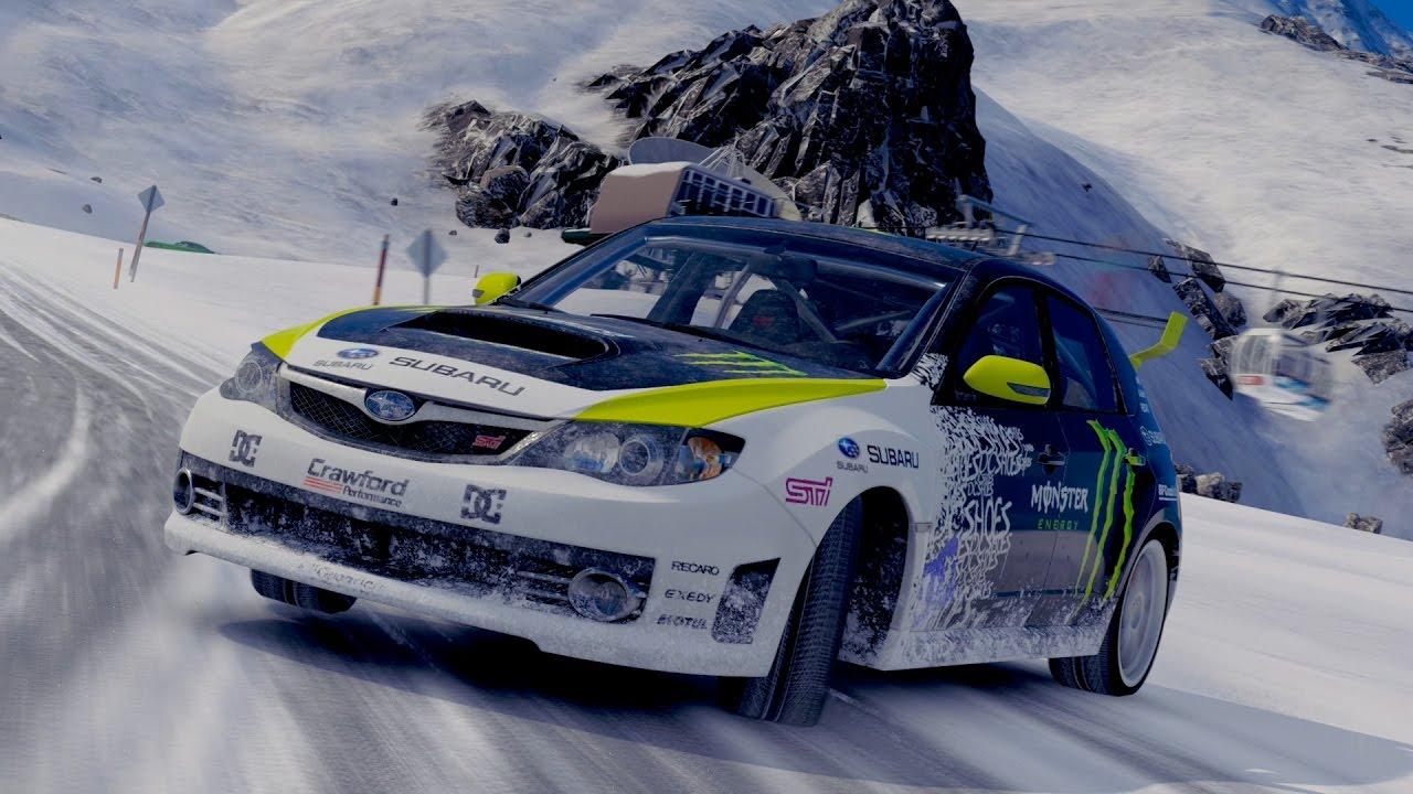 Ken Block Subaru Impreza Rally Car Snow Drifting Blizzard Mountain Expansion Forza Horizon 3