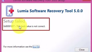 Fix 0x8009107 - Lumia Software Recovery Tool 5.0