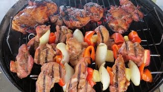Grilled Chicken Shish Kebabs and Boneless Skinless Chicken Thighs