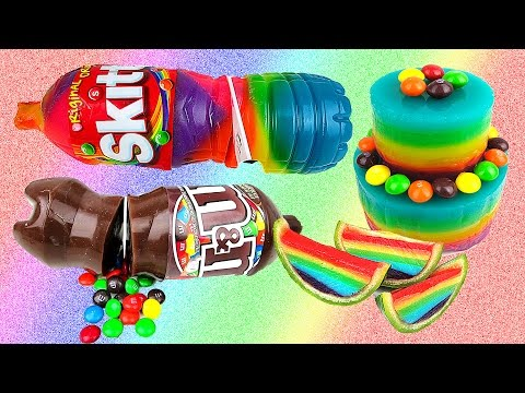 Rainbow Jello Soda Bottle, Cake & Watermelon! AWESOME Gummy Skittles M&Ms Jelly Treats