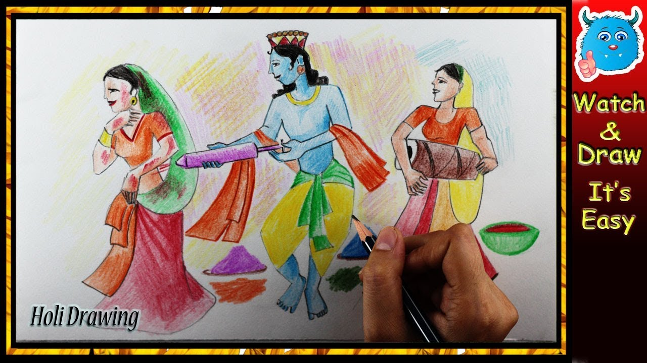 Holi scene drawing easy how to draw lord radha krishna with colored pencil for kids
