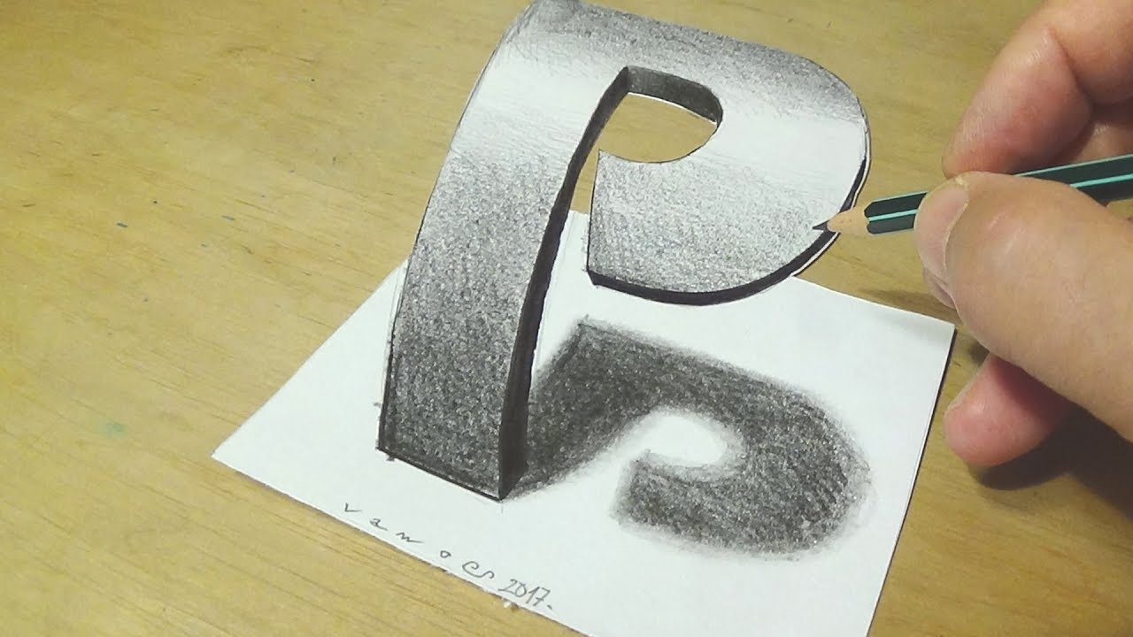 Drawing 3d letter with graphite pencils how to draw 3d letter p trick art for kids adults