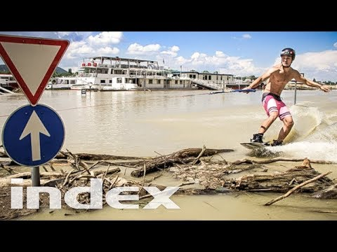 Extreme urban wakeboard while Police is chasing on the flooded streets of Budapest