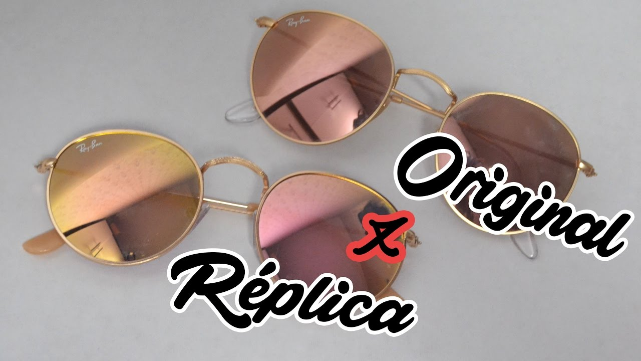 ray ban clone sunglasses  Original x R茅plica: Ray Ban Round Rose Gold - YouTube