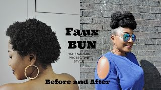 HOW TO || FAUX BUN || SHORT NATURAL HAIR