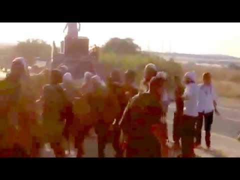 Israeli soldiers dancing in Gaza Border. Operation Protective Edge