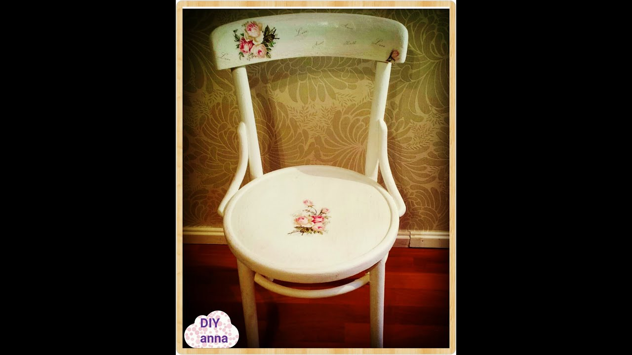 decoupage chair with scratches and roses napkin ideas DIY