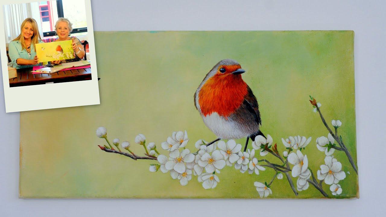 Como pintar en acrilico pajaros y flores mabel blanco for Paisajes para una pared