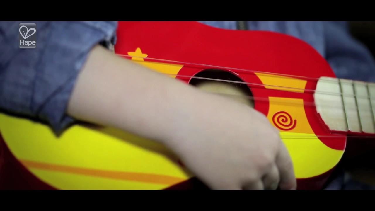Hape Early Melodies ξύλινη κιθάρα Ukulele κόκκινη E0316
