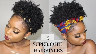 Two SUPER CUTE And EASY Hairstyles For SHORT Natural Hair    4B/C Natural Hair   Chev B