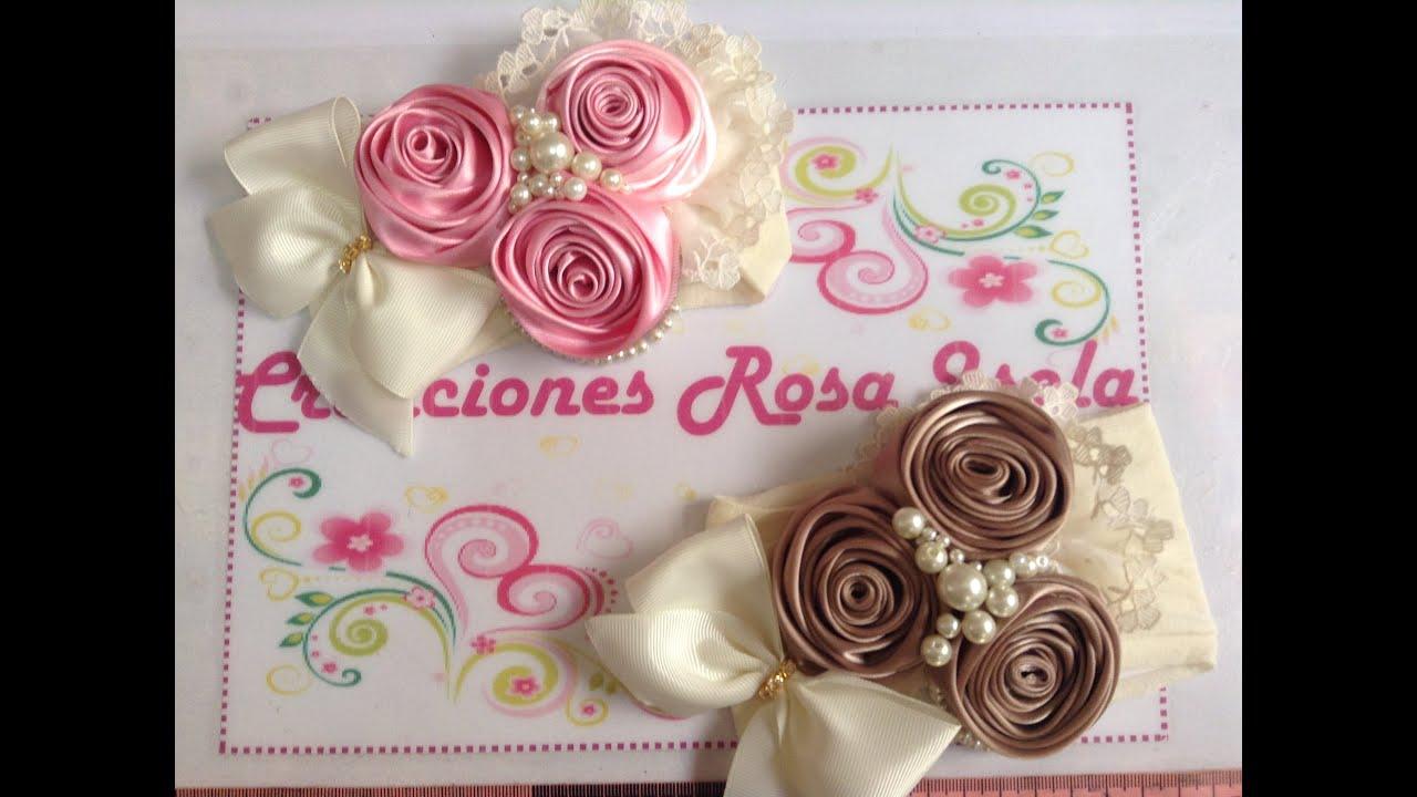 Tiara de rosas con perlas Creaciones Rosa Isela VIDEO No. 233 , YouTube