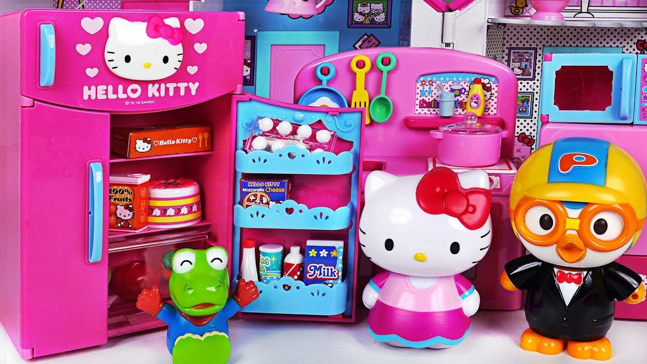 3604b0ea52 Happy birthday Pororo! Hello Kitty Refrigerator and kitchen toys ...