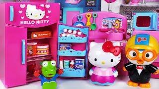 Happy birthday Pororo! Hello Kitty Refrigerator and kitchen toys play - PinkyPopTOY