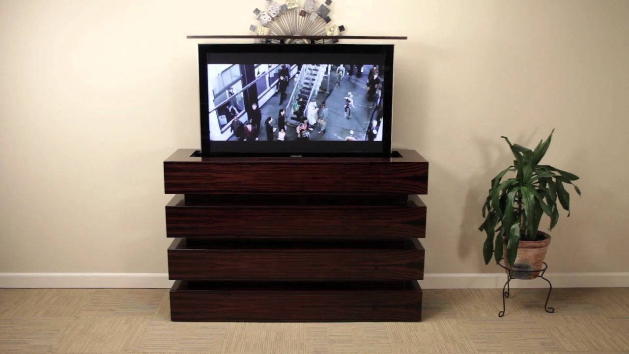 le bloc ebony macassar pop up tv cabinet - youtube