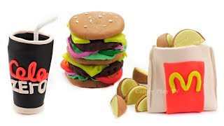 Play Doh McDonald's Playset Double Cheeseburger Coca Cola Zero Potatoes | Learn Colors for Kids