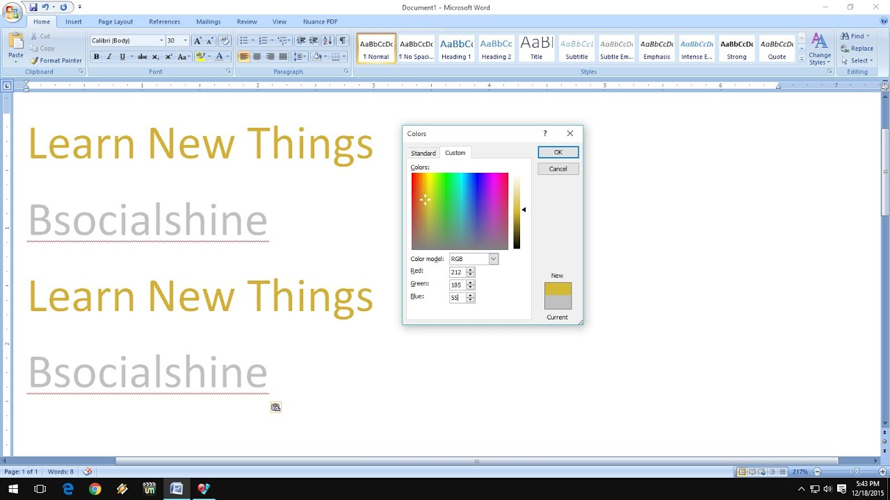 How To Make Golden And Silver Colors In MS Word