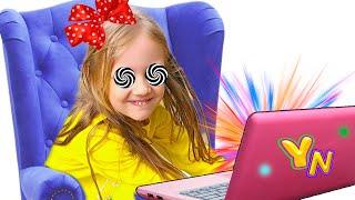 Весёлая история для детей о том, почему вредно смотреть долго мультики Ya-Nastya
