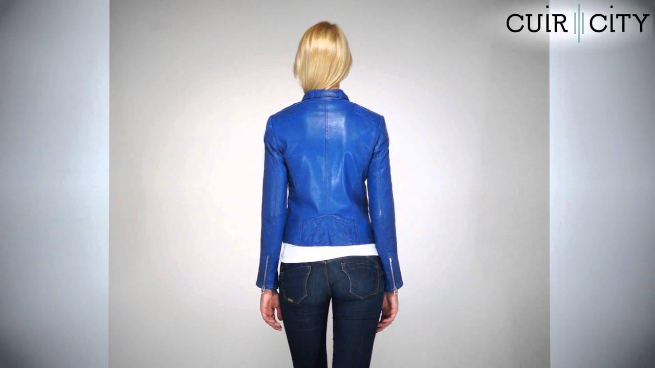 Blouson cuir bleu femme redskins