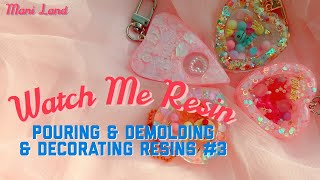 Watch me resin ー Pouring, Demolding, Decorating Heartshaker & Ouija keyring - Mani Land