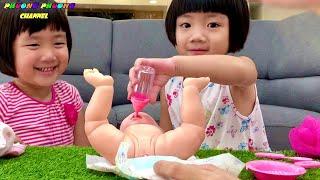 hướng dẫn cách chăm eṁ bé sơ sİnh đồ chơi búp bê bąby với bồn cầu